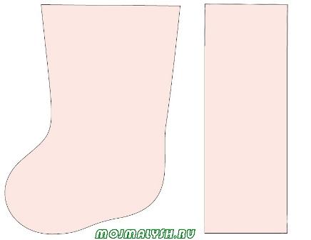выкройка новогоднего носка
