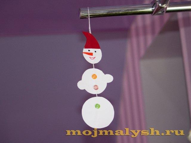 поделка из бумаги для детей снеговик